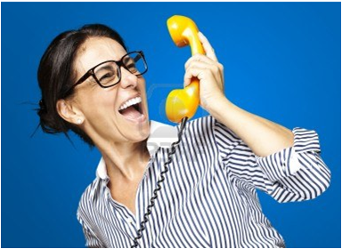 Crazy woman on phone